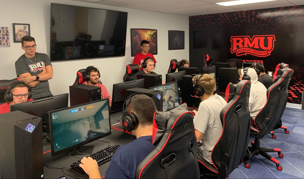 RMU esports in their practice facility.
