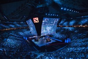 full stadium watching DOTA 2 championship.