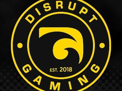 Disrupt Gaming logo yellow and black crest