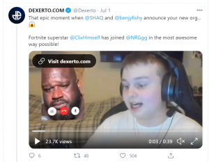 Shaq and Benjyfishy announce new NRG player together on Twitter