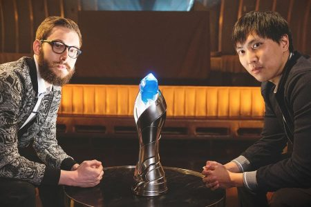 Bjergsen and Doublelift with Trophy.