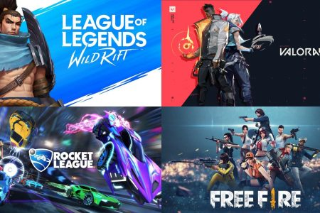 Logos for Wild Rift and Valorant and Rocket League and Garena Free Fire
