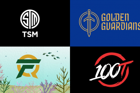 four esports teams logos - TSM, Golden Guardians, FlyQuest, and 100 Thieves.