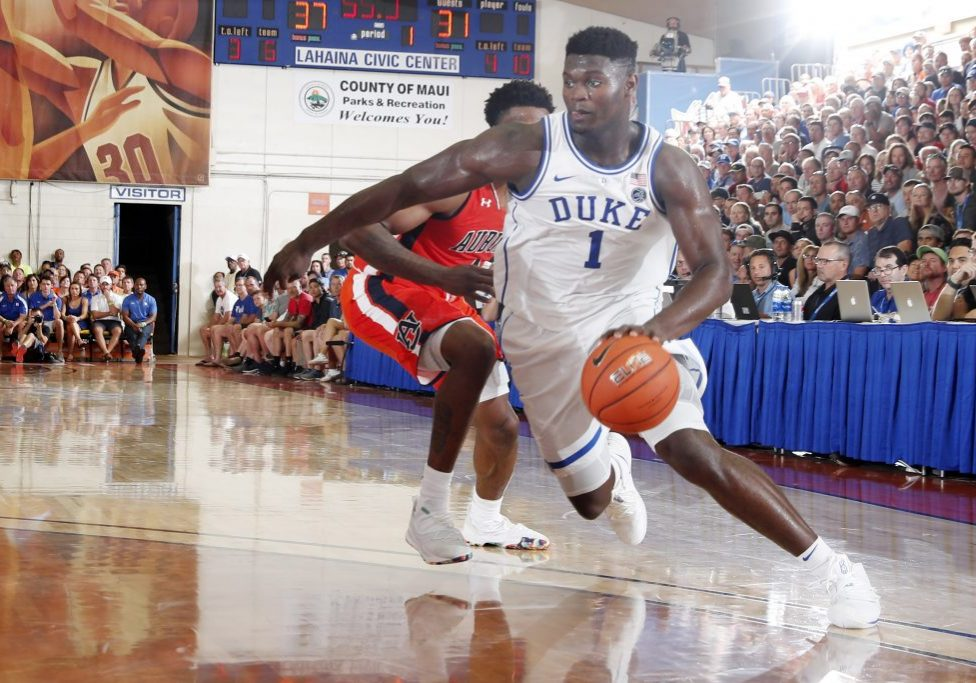 Nov 20, 2018; Lahaina, HI, USA; Duke Blue Devils forward Zion Williamson (1) drives to the basket against the Auburn Tigers in the first half during the second round of the Maui Jim Maui Invitational at Lahaina Civic Center. Mandatory Credit: Brian Spurlock-USA TODAY Sports